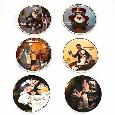 $150 Lot of 6 Norman Rockwell MOTHERS DAY Collectors China Set Bradex Art Plates