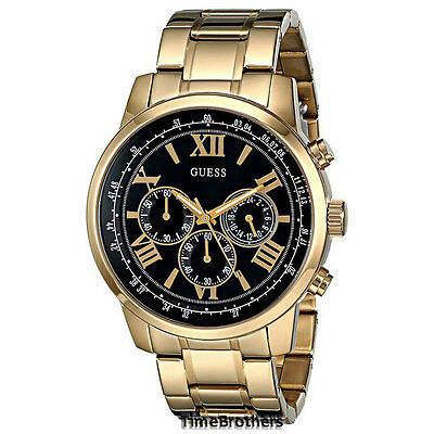 New Guess Watch For Men Chronograph Gold Tone W Black Dial U0379g4