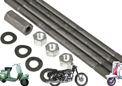 Lambretta Cylinder Nut & Stud Kit Standard Size Set @uk