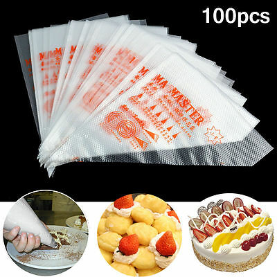 200pcs Plastic Pastry Bag Disposable Icing Piping Frosting Cake Sugar craft DIY