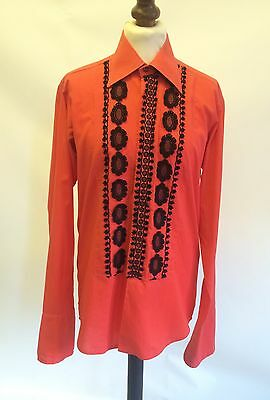 60s 70s Chard Of London Red Black Frilly Dress Shirt 14 Collar 36/38 Chest