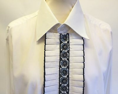 Vintage 60s 70s Sammy Frilly Front White Mens Dress Shirt 16 Collar 42/44 Chest