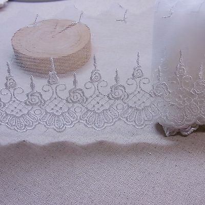 """Antique Style Embroidery Tulle Lace Trim Rayon 7cm (2.8"""") White 3yds"""