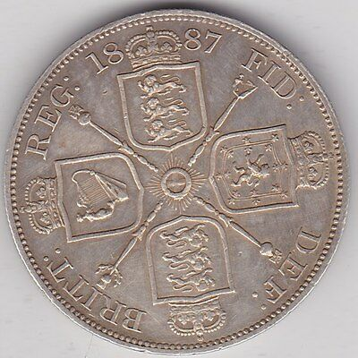 1887 Arabic One Double Florin In Good Very Fine Condition