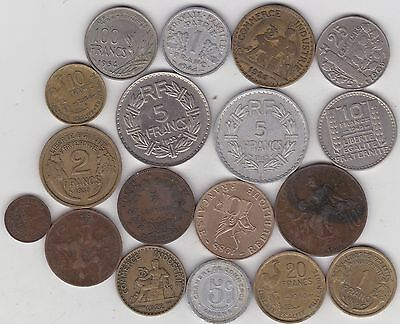 18 Different French Coins Dated 1897 To 1988 In Fine Or Better Condition