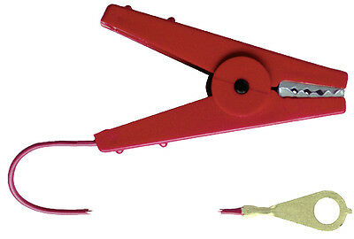 Corral Connection Cable C/W Crocodile Clip  - Red - Fencing