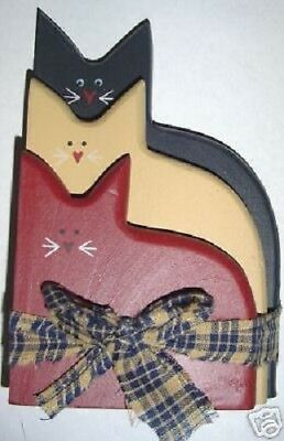 Americana Stacked Cats Patriotic Rustic Primitive Vintage Country home decor