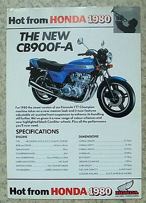 HONDA CB900F-A Motorcycle Sales Specification Leaflet 1980
