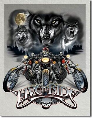 Plaque métal BIKER - Live to Ride LOUPS - Harley