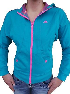 ADIDAS DAMEN JACKE Sweater Hoody Trainings Türkis Pink Pulli