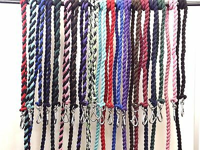 1 Piece 2 mtr High Quality Cotton Leadrope Strong Wirehook Clip VARIOUS COLOURS