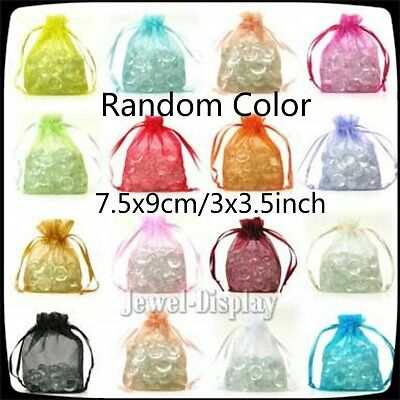 1000x Random Color Organza Packaging Pouches Jewellery Favour Gift Bag 3x3.5inch