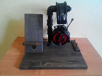Industrial headphone stand, wood and pipe iPhone stand, wooden dock station