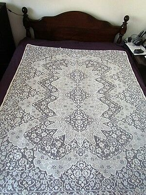 Vintage Small Quaker lace Floral White tablecloth Cotton Blend New Unused Cream
