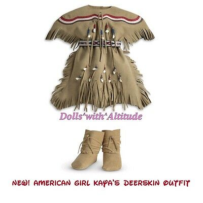 New American Girl Kaya's Deerskin Outfit Dress Moccasins Belt Indian Accessory