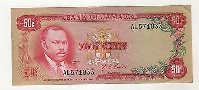 Jamaica 50 Cents 1960 (1970) Pick 53 XF- Circulated Banknote
