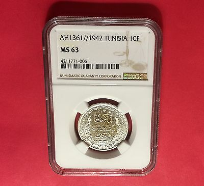Tunisia -1942 Silver 10 Francs -Ngc Ms63  .uncirculated ...extra Rare.