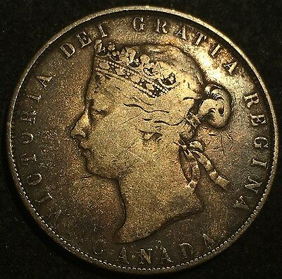 1870 Canada Fifty Cents Silver Coin