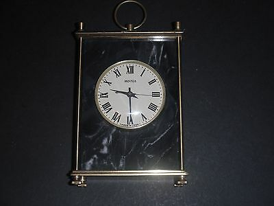 Vintage Molnija Grey-Black Marble & Brass Mantle Clock Ussr - Needs Attention