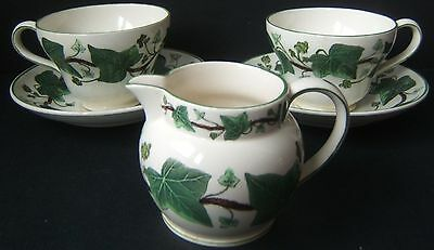 Wedgwood Napoleon Ivy 2 Footed Tea Cups 2 Saucers and 1 Creamer Green w/ Defects