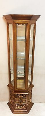 Vintage Ornate Illuminated Curio Cabinet with Glass Shelves $175