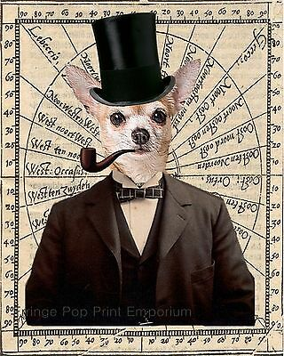 Steampunk Chihuahua Art Print 8 x 10 - Victorian Dog on Old Map Image - Surreal
