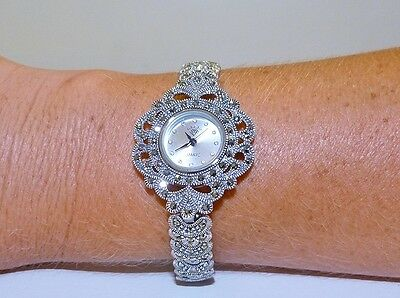 VINTAGE STYLE!! 38.7gr Champagne Marcasite Bracelet Watch Solid S/Silver 925!
