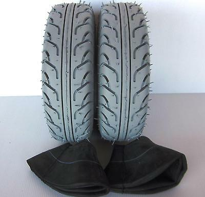"""2 Pack Special - 2 Mobility Scooter Tyres & 2 Tubes 330 x 100 (4.00 x 5"""") Grey"""