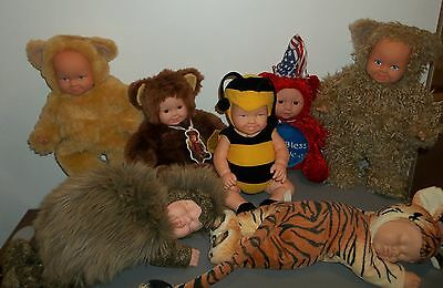Anne Geddes Doll Collection (7) Dolls ~ Tiger~ Bears ~Bee ~ Hedgehog ~Americana
