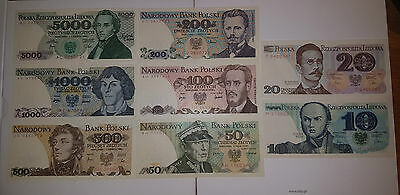 Poland 1975-1986 Set of banknotes from 10 zlotych up to 1000 zlotych +  5 000zł