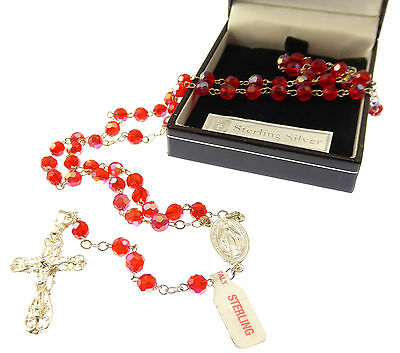 Iridescent Red glass rosary beads on sterling silver chain and cross in box