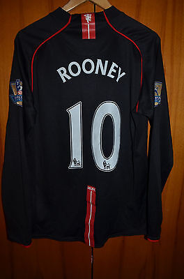 Manchester United 2007/2008 Away Football Shirt Jersey Nike Long Sleeve Rooney