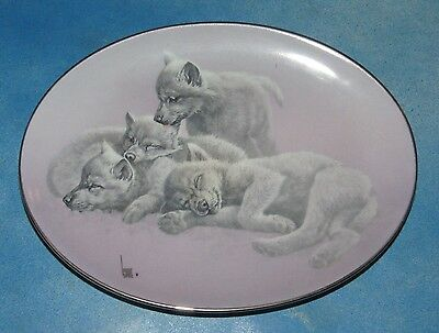 Wolf Pups The Wild Bunch Wake Up Call Collector Plate New Condition With Box COA