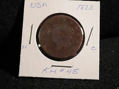 Usa:   1822   Coronet Large   Cent  Coin   (Circ.) (#176)    Km # 45