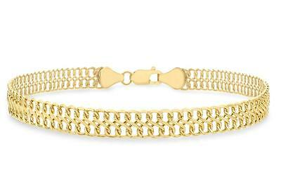 "9ct Yellow Gold Double Curb Figure of 8 Strap Bracelet 19cm/7.5"" Womens Gift"