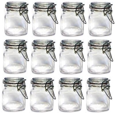 12 X Mini Glass Clip Top Spice Storage Jars Set Kitchen Herb Container Canisters
