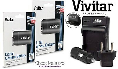 2-Pc Hi Capacity NP-FW50 Li-Ion Battery & Charger For Sony Alpha A6300 ILCE-6300