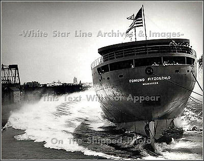 Poster Print: The Launch Of The Steel Bulk Freighter SS Edmund Fitzgerald, 1958