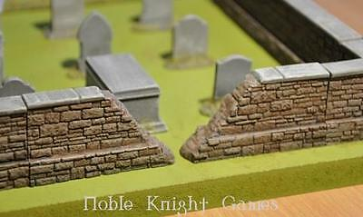 Ainsty Mini Terrain 28mm 12cm Damaged Cemetery Wall Pack MINT