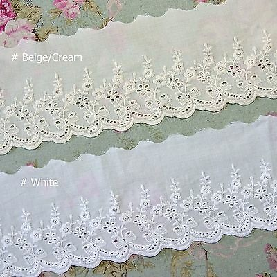 Broderie Anglaise Rose Cotton Eyelet Lace Trim 10cm White Beige Cream 5 yards