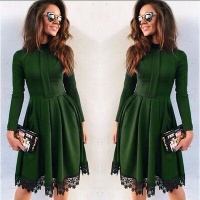 Women's Summer Lace Long Sleeve Party Evening Cocktail Short Mini Dress