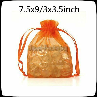 Offer 1000 Orange Organza Pouches Jewellery Gift Bags Wedding Favour 3 x 3.5inch