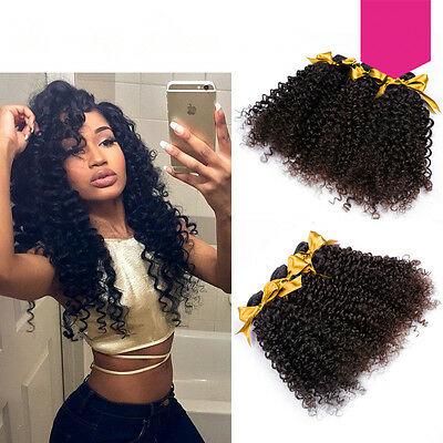 4 Tissages Brazilian Virgin Hair Extensions Cheveux Humains Kinky Curly Naturel