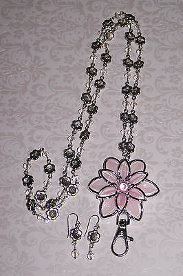 Pink & Silver Flower with Clear Crystal & Silver Flower Beaded Lanyard Necklace