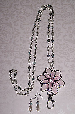 Pink and Silver Flower with Crystal and Pearl Flower Beaded Lanyard Necklace