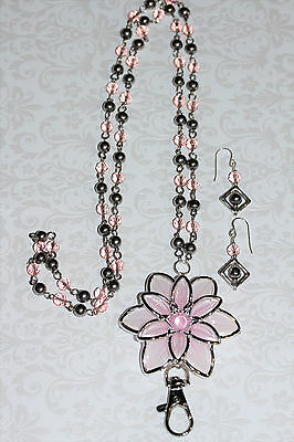 Pink and Silver Flower with Crystal and Silver Ball Beaded Lanyard Necklace
