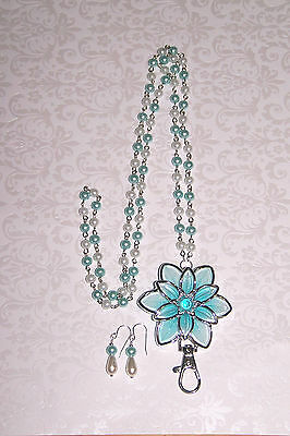 Aqua and Silver Flower with Aqua and Cream Pearl Flower Beaded Lanyard Necklace