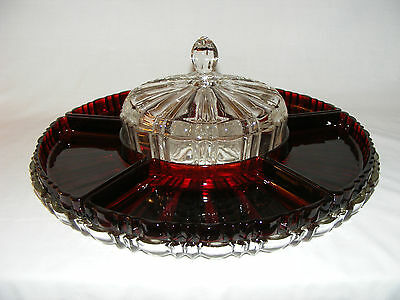 Vintage Anchor Hocking Old Cafe Ruby Red Depression Glass Lazy Susan Tray 1930's