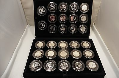 Good, Untouched London 2012 Sterling Silver Olympic, 50 Pence Coin Collection