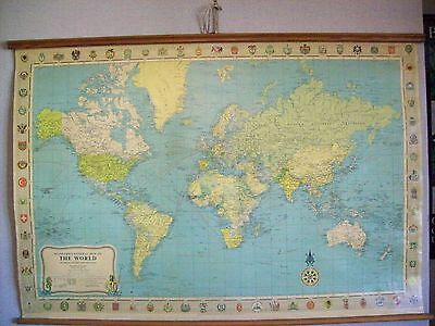 ** VINTAGE LINEN 1964 STANFORD'S MAP OF THE WORLD **(on mercator's projection)